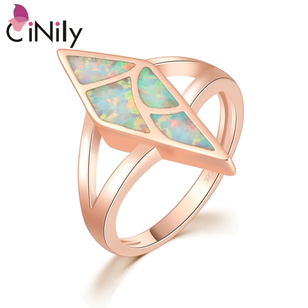 CiNily Created White Fire Opal Rose Gold Color Wholesale New Style Jewelry for Women Wedding Engagement Ring Size 5-10 OJ9380