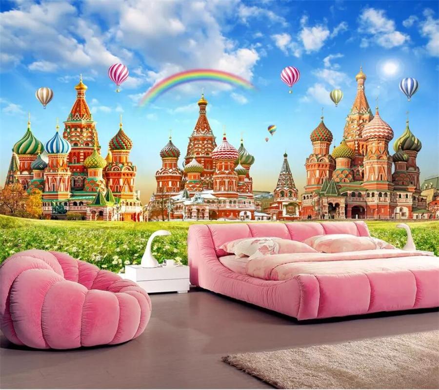 Us 885 41 Offbeibehang Custom Wallpaper 3d Photo Murals Dream Castle Hd Children Room Rainbow Hot Air Balloon Tv Background Wall Paper Mural In