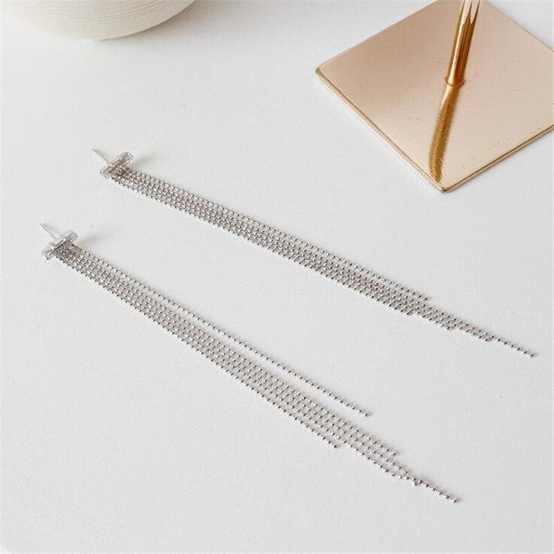 Mode bijoux déclaration femmes mariée mariage balancent boucles d'oreilles Zircon longues perles chaîne gland S925 boucles d'oreilles en argent Sterling