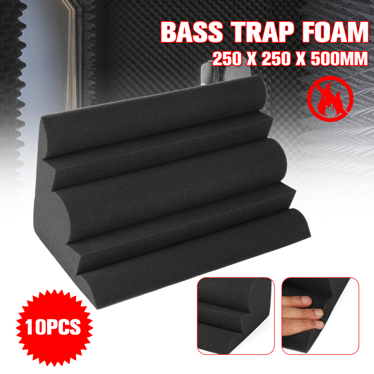 10 piezas 250x250x500mm acústica Bass trampa espuma acústica para pared esquina esponja insonorizadas estudio absorción Wedge Tiles espuma
