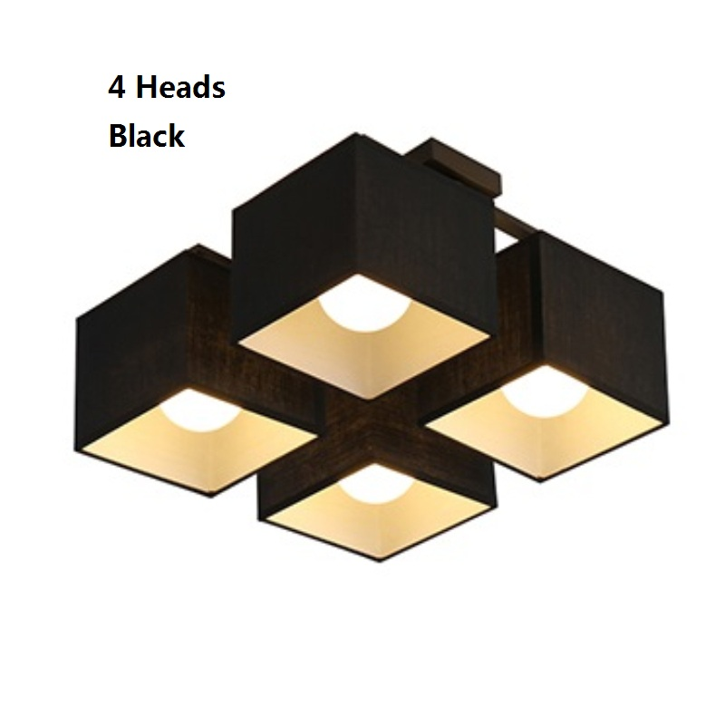 4 and 9 Heads New Modern Fabric Cloth Led Ceiling Light For Living Room plafons de teto Nordic Ceiling Lamps Bedroom Plafondlamp noosion modern led ceiling lamp for bedroom room black and white color with crystal plafon techo iluminacion lustre de plafond