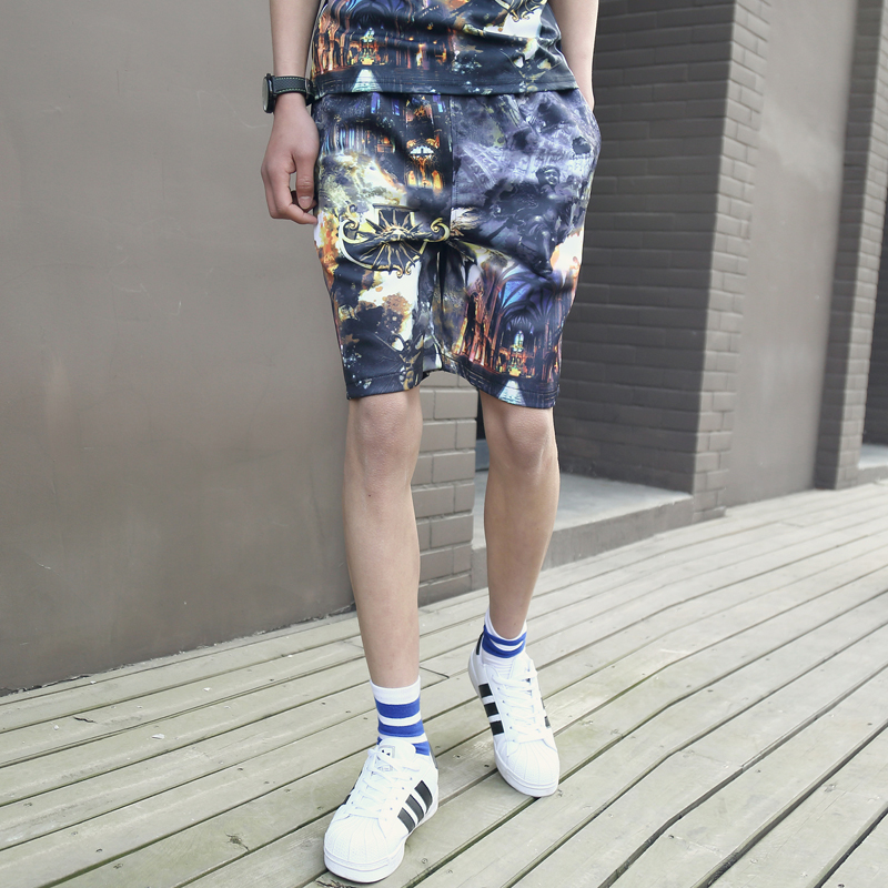 2016 Summer Style Men's Religion 3D Printed Pattern Shorts Cotton Floral Knee Length Shorts For Men Sportswear Short Trousers