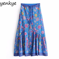2018 Women Boho Floral Printed Skirts Drawstring Tassel High Waist Skirt Lady Casual Beach Summer Skirt