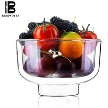 480ml Heat Resistant Double Wall Layer Glass Bowl Creative Round Transparent Coffee Dessert Fruit Salad Bowl Tableware Drinkware