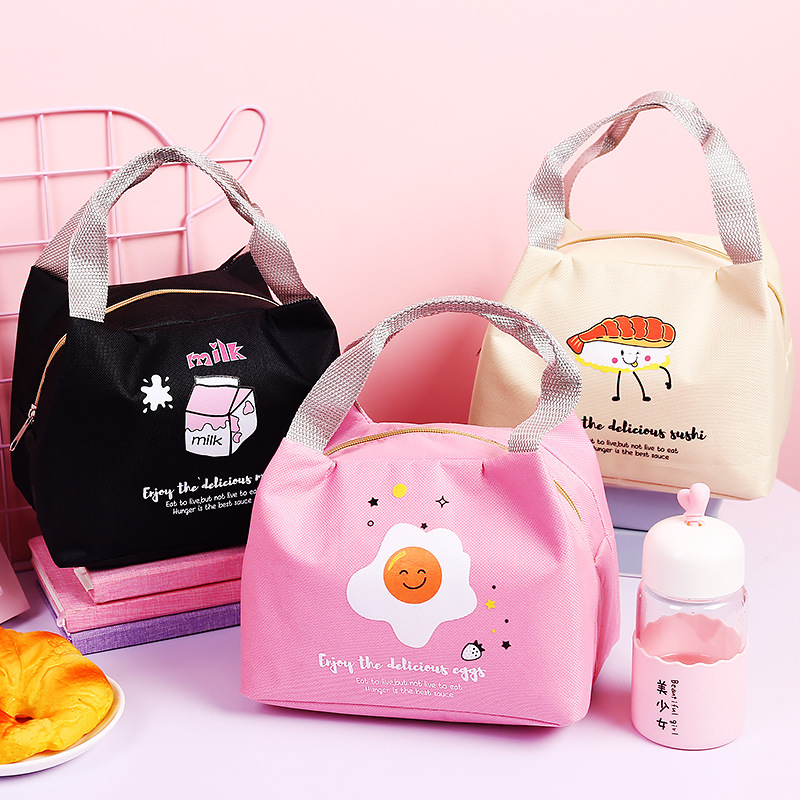 New Cartoon Cute Lunch Bag For Women Girl Kids Children Thermal Insulated Lunch Box Tote Food Picnic Bag Milk Bottle Pouch