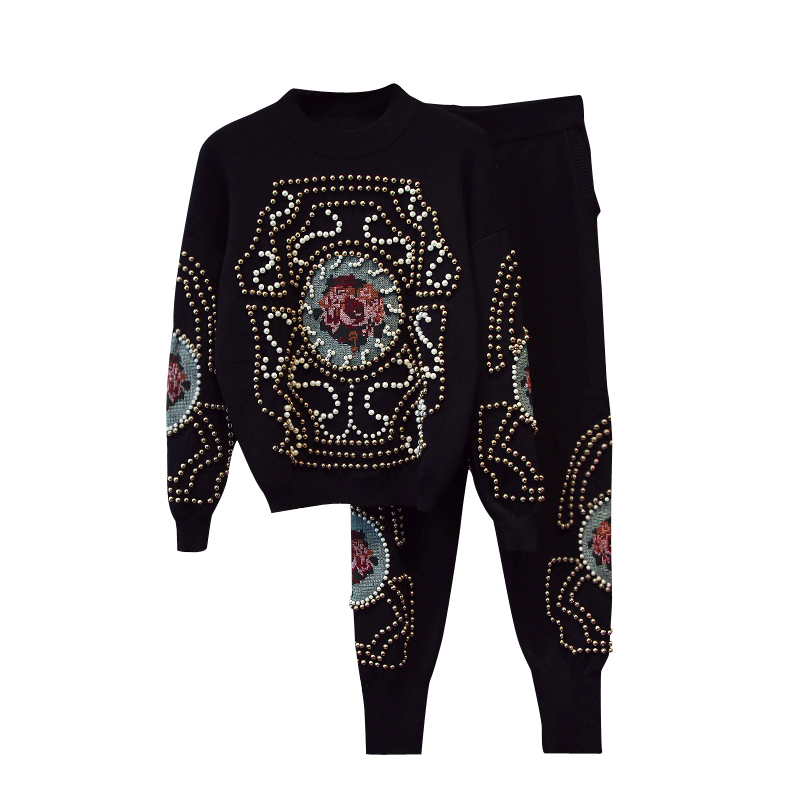 rivet pattern printed acrylic cotton blend knit women Oneck sweatshirts tracksuit pullover haroun pant 2pcsset black ML