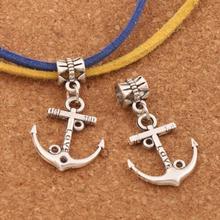 homod new fashion anchor beads leather bracelets 100PCS Antique Silver Love Anchor Charm Beads Big Hole Bead Dangle Fit European Bracelets B002 19x32mm