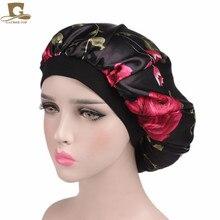 Cheap 2017 new fashion Luxury Wide Band Satin Bonnet Cap comfortable night sleep hat hair loss cap women turbante