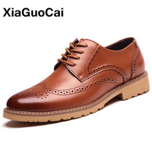 Classic Men Brogue Shoes Luxury British Business Bullock Leather High Quality Dress Flats X165