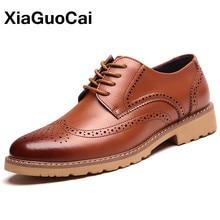 Classic Men Brogue Shoes Luxury British Business Bullock Leather Shoes High Quality Dress Flats X165 цена 2017