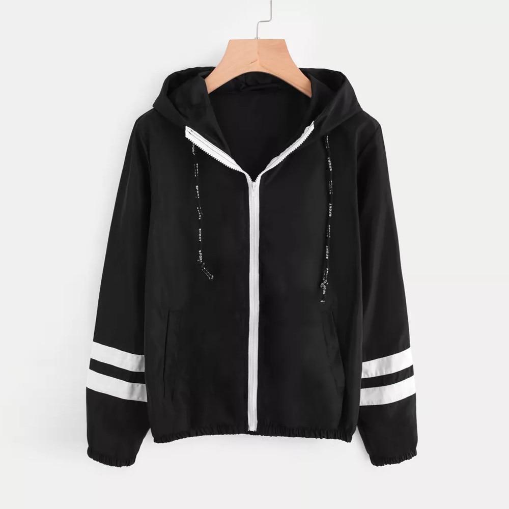 Candid Patchwork Thin Skinsuits Hooded Jacket Women Long Sleeve Zipper Pockets Windbreaker Jacket 2018 Autumn Coat Sportswear #20