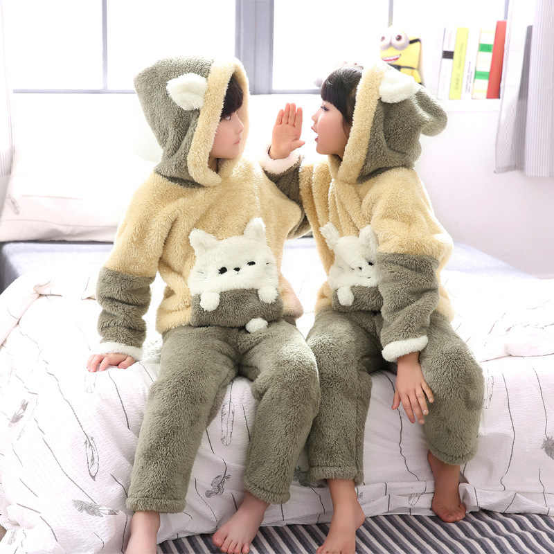... Women men pajamas set winter autumn thick warm flannel household lovers  sleeper couples sleepwear suits animal ... 82f682d44