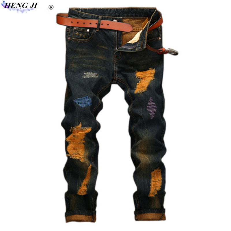 Retro male jeans, ripped jeans, middle - waist and straight pants, old, cat beard, wear, no stretch, high quality, free shipping ...