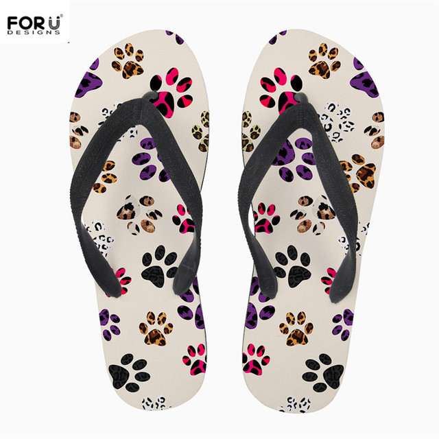 f30fdd64b74359 FORUDESIGNS Women Casual House Slipper Cute Cartoon Paws Letter Print Solid Rubber  Flip Flops for Youth Girls Summer Beach Shoes