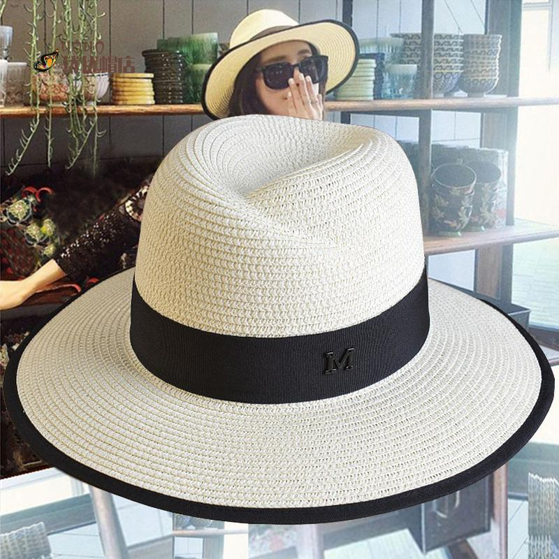 Summer M Fedoras Female Summer Beach Sun-shading Sunscreen White Straw Hat