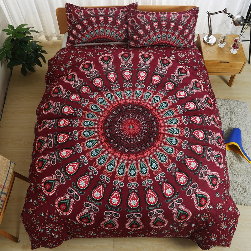 Bohemian Style Luxury Mandala Bedding Set Twin/Queen/King Size Boho Comforter Duvet Quilt Cover and Pillowcase Soft Bedclothes