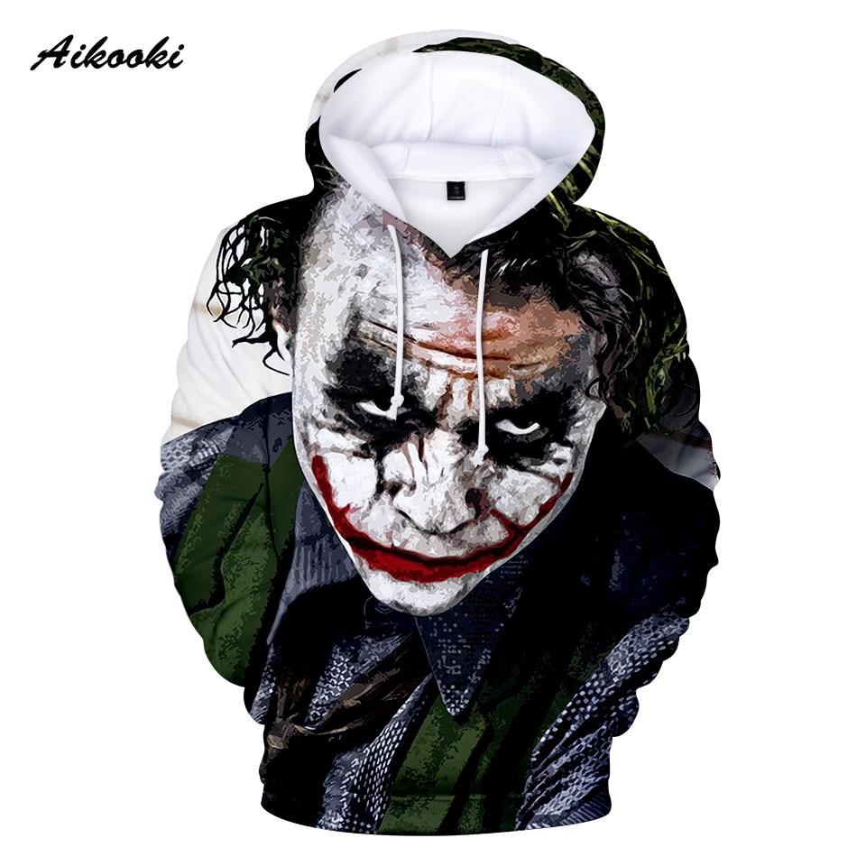 Aikooki New HAHA Joker Sweatshirts Mens Brand Hoodies Men/Women Joker HaHa 3D Printing Hoodie Male Casual Tracksuits Brand Coats
