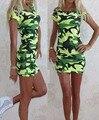 2016 NUEVAS Mujeres Del Verano Camisetas Impresas Poleras De Camuflaje Verde Mujer Casual Sexy Lady Largo Ejército Top Mujer Fashion Tees CH525