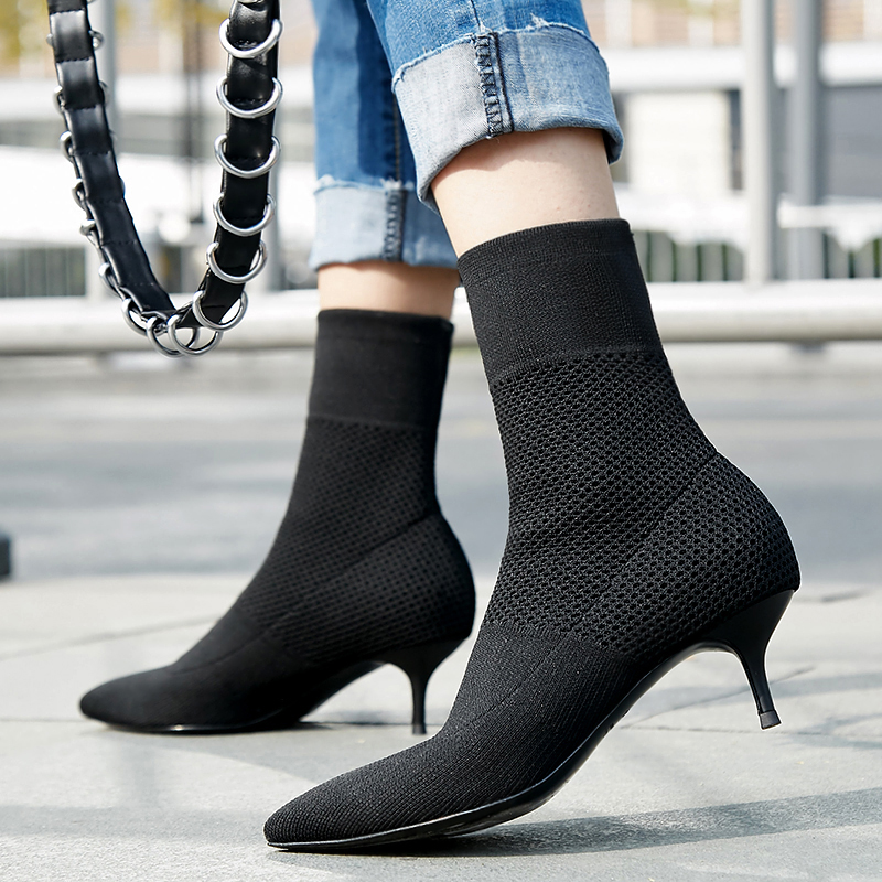 46613fd4587 Women s Stretch knit black slip-on high heel autumn ankle boots brand  design pointed toe