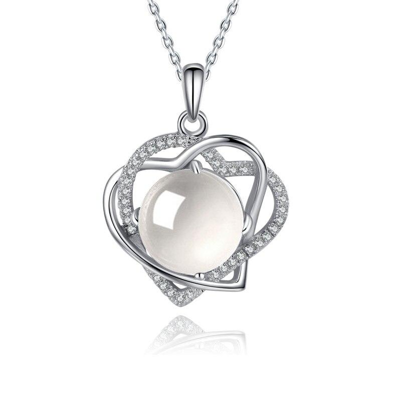 6 couleurs coeur amour pierres semi-précieuses naturelles 925 collier en argent Sterling chaîne incrusté blanc cadeau d'anniversaire coréen