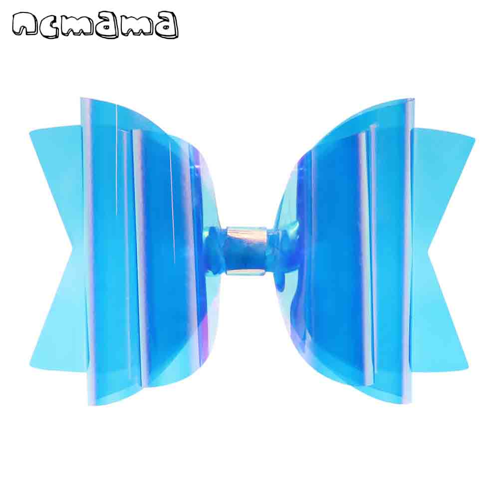 ncmama 5 Inch Waterproof Jelly Bows for Girls Hair Clips Summer Swim/Pool Bows Fashion Shiny PVC Hairgrips Party Kids   Headwear