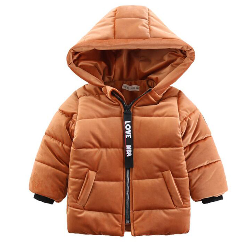 Winter warm gold velvet jacket for boys kids solid hooded down jacket for boys children coats outwear boy clothes new fashion цена