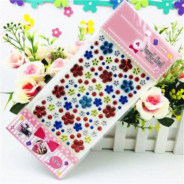 Color Sent Randomly Self Adhesive Glitter Flower Crystal Gems Jewel Diamond  Sticker Rhinestone Strip Scrapbooking Decal 4cc496c47901