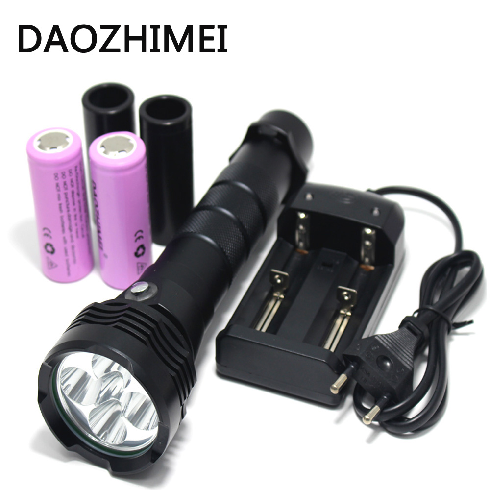 15000LM 5* XM-L2 LED Scuba Diving Flashlight Underwater 80 Meter Torch Waterproof Diver Portable Lantern 26650 battery +Charger 100m underwater diving flashlight led scuba flashlights light torch diver cree xm l2 use 18650 or 26650 rechargeable batteries