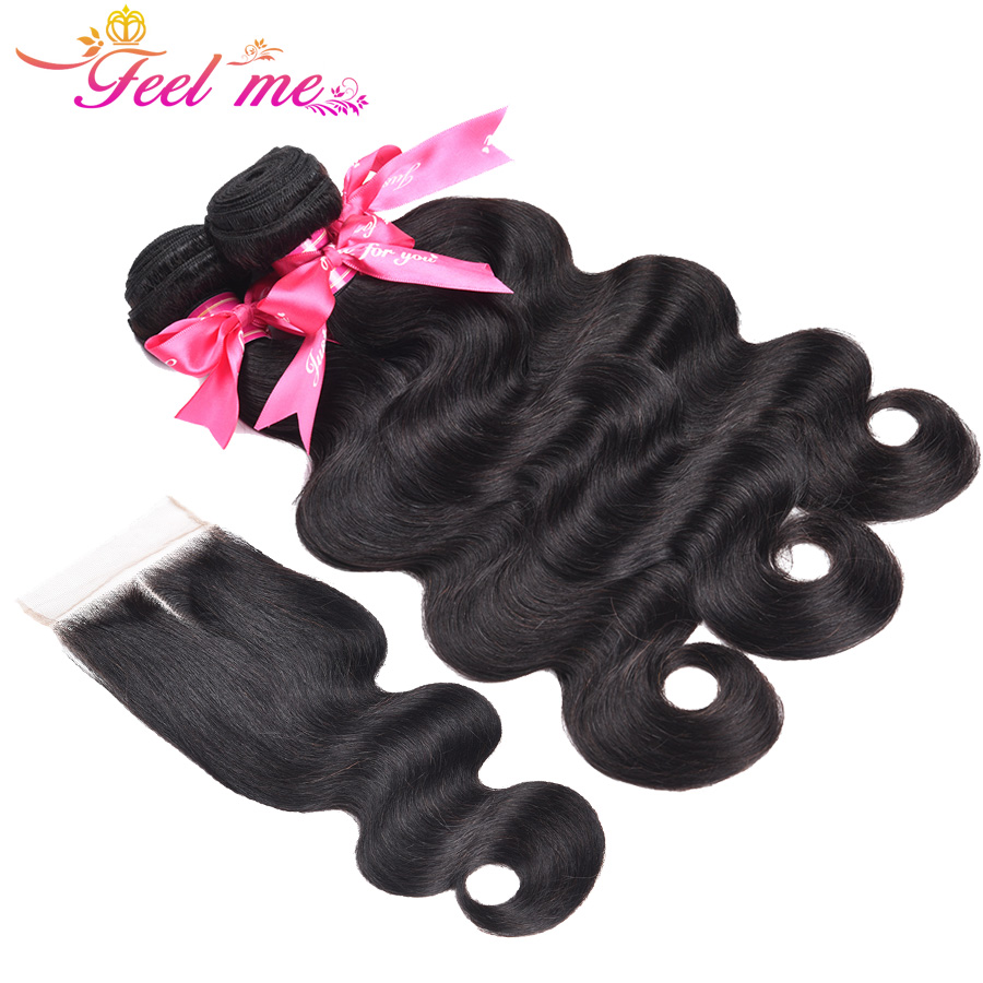 Feel Me Human Hair Bundles With Closure Indian Hair Body Wave 3 Bundles With Lace Closure Middle Part Non Remy Hair