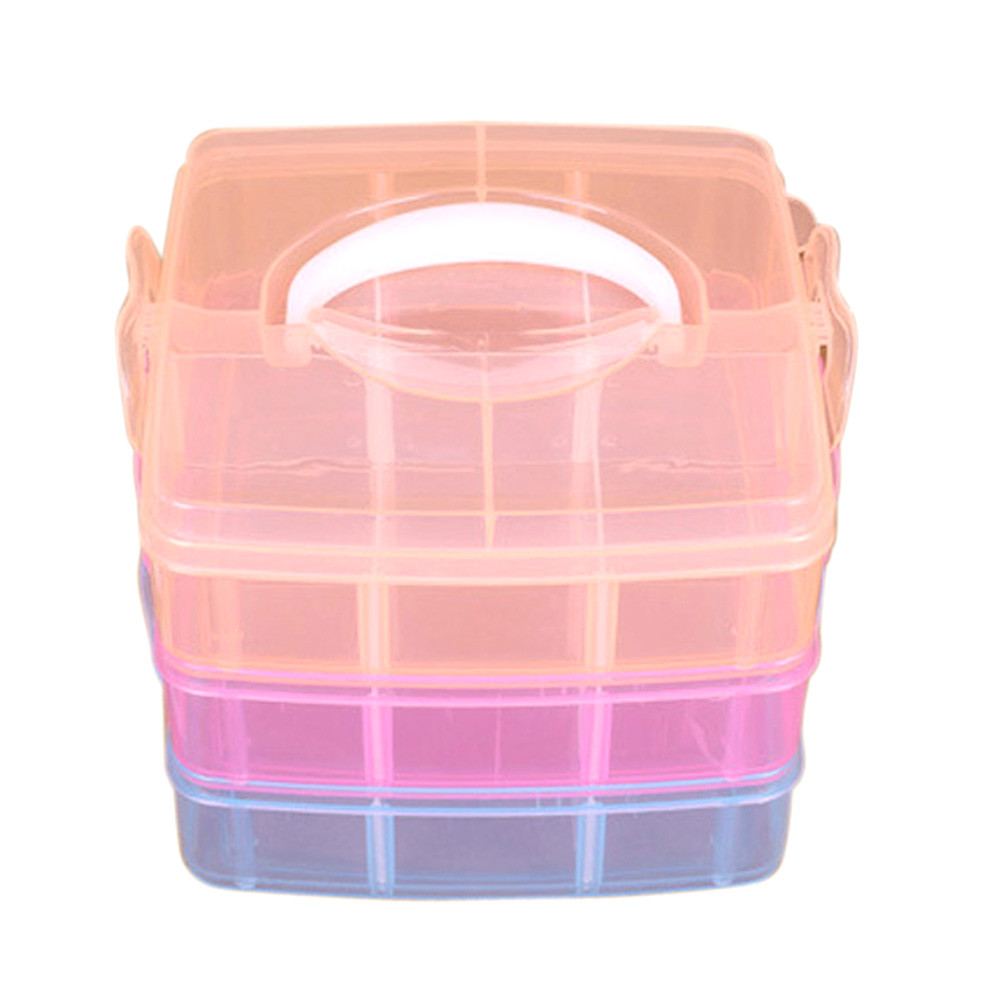 Fashion New Clear Plastic Jewelry Bead Storage Box Makeup Container Organizer Case Craft Tool Desktop Sundries Container
