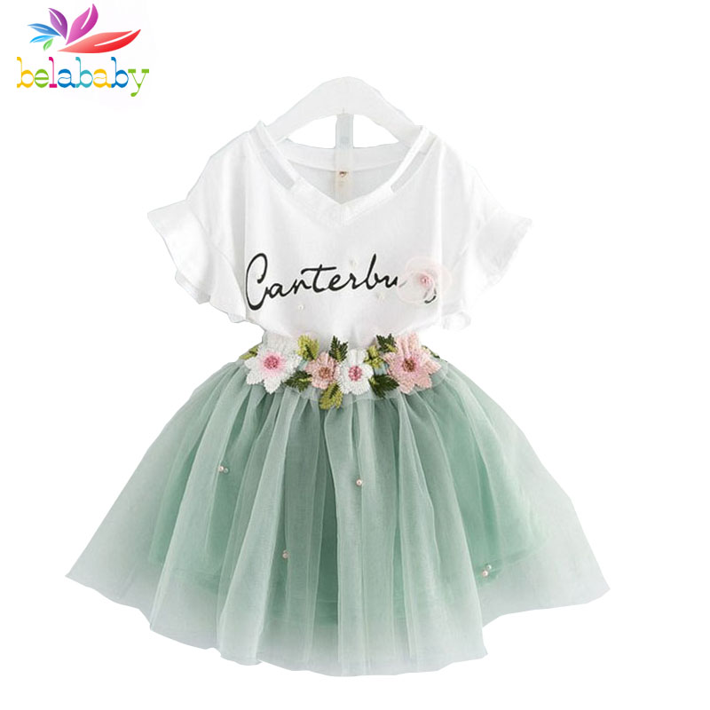 Belababy 2017 Summer Kids Girls Clothes Set Letters T-Shirt+ Floral Tutu Skirt 2pcs Girl Princess Suit Toddler Girl Clothing Set