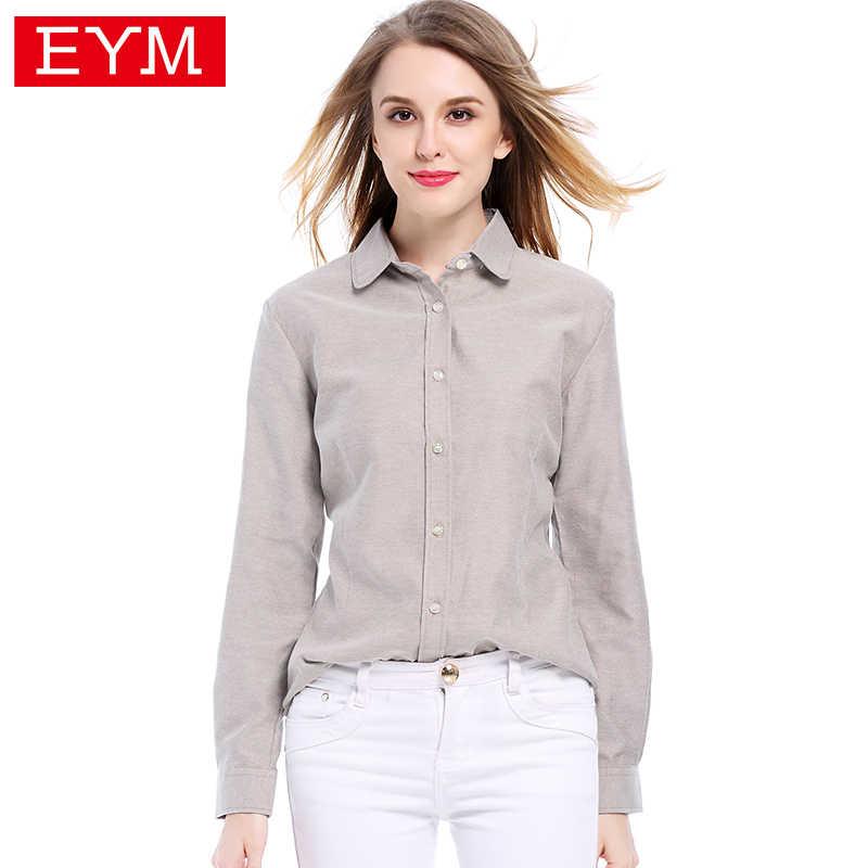 04adac6d8ec5 EYM блузки рубашки 2019 осень новый модный бренд белая рубашка женские  рубашки с ...