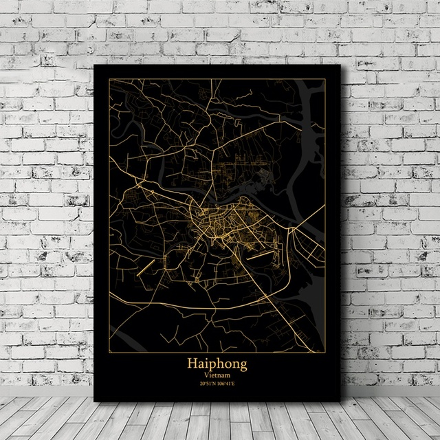 Haiphong Hanoi Ho Chi Minh City Vietnam Black and Gold City Map Poster Canvas Print Home Decor No Frame