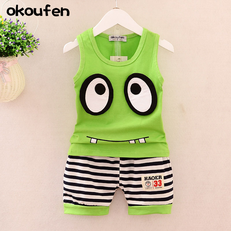 2018 new baby boy clothes suit summer cartoon big eyes vest sport suit 100% cotton kids clothing sets for boys body suit i k boy vest suit breathable sport suit for boys 2017 summer new arrived children clothing two piece set comfortable suits a1082