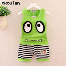 2017 boys summer big eyes vest sport suit