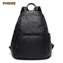 PNDME top layer cowhide black mens backpack casual genuine leather large capacity bookbags simple outdoor women bagpack