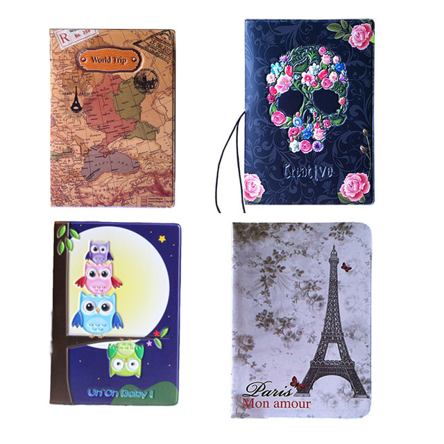 4pcsset worldmapowlskull passport cover idcredit card bag 3d 4pcsset worldmapowlskull passport cover idcredit card bag 3d design pvc gumiabroncs Choice Image