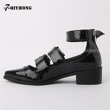 Mary Jane Shoes Retro 2017 Spring And Summer Pointed Patent Leather Shoes With Thick Leather Belt Buckle QIYHONG Brand