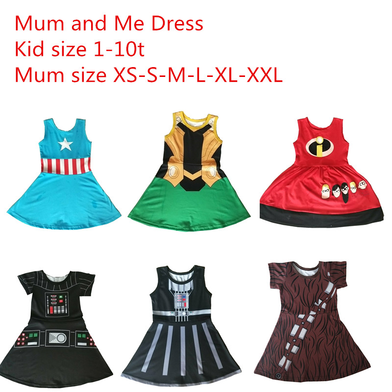 Halloween Mum and Me Dress Family Matching Princess Cosply Dresses Up Party Summer Dress