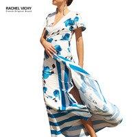 Vichy Summer Beach Boho casual robe Dress female Print Vintage Cotton Vestidos De Festa Hot new 2128 maxi dresses RV0194