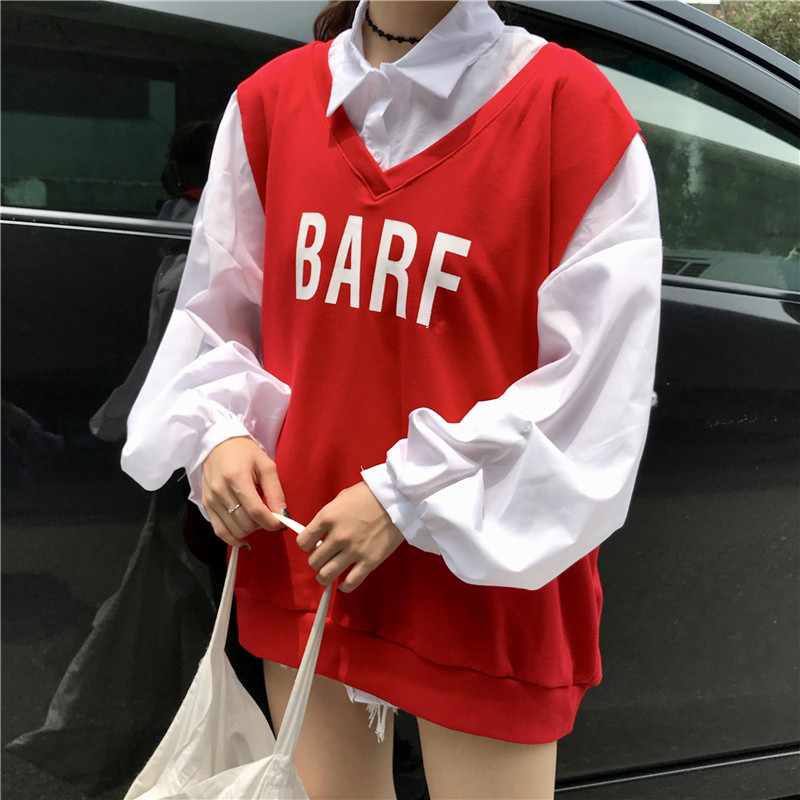 Women Spring Fashion Shirts 2pc Retro Lantern Sleeve Long White Blouse&Letter Printed Casual Tank Vest Suits Female 2 Piece Tops