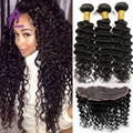 Malaysian Deep Wave With Closure Ear To Ear Lace Frontal Closure With Bundles Full Lace Frontal Closure Free Part With Bundles