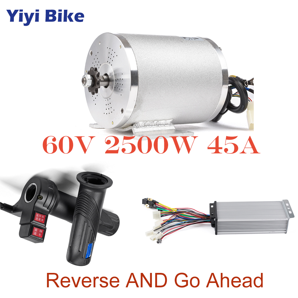60V 2500W DC Motor Electric Conversion Kit Brushless Motor Controller With Twist Throttle Reverse Gas Handle