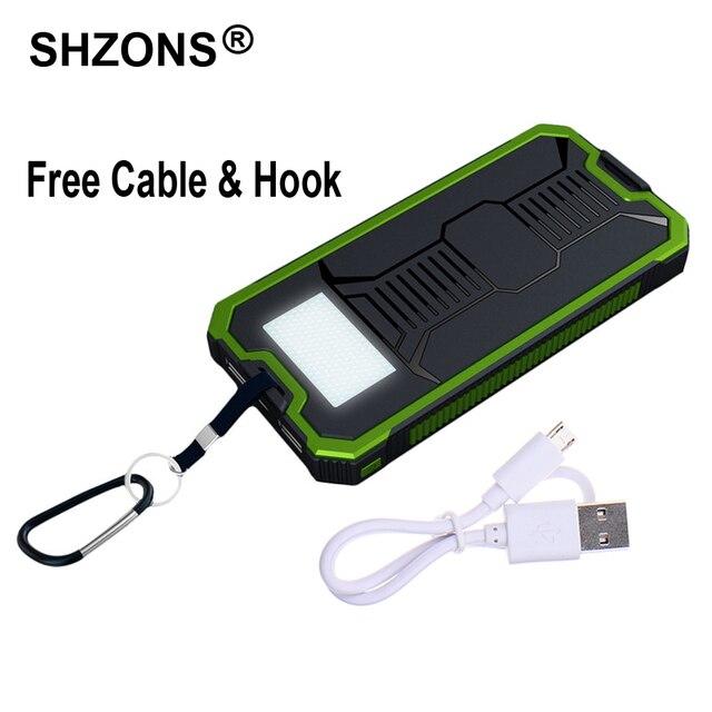 12000 мАч Солнечное Зарядное Устройство Power Bank Водонепроницаемый Портативное Зарядное Устройство Dual USB для iPhone 5s 6 s 7 Plus для Samsung S7 Edge Note7