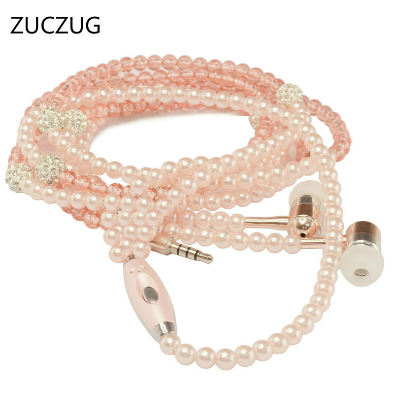 ZUCZUG fashion Pink girl Rhinestone Jewelry Pearl Necklace Earphones With Mic 3.5mm Earbuds For Xiaomi Huawei Brithday Gift trendy fashion jewelry multi tribal cut out tiered necklace set by fashion destination