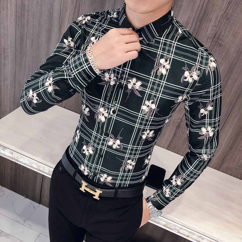 d1ed4784f8 Quality Korean Men Shirt Fashion 2019 Autumn Tuxedo New Slim Fit Print Shirts  Dress Mens Long