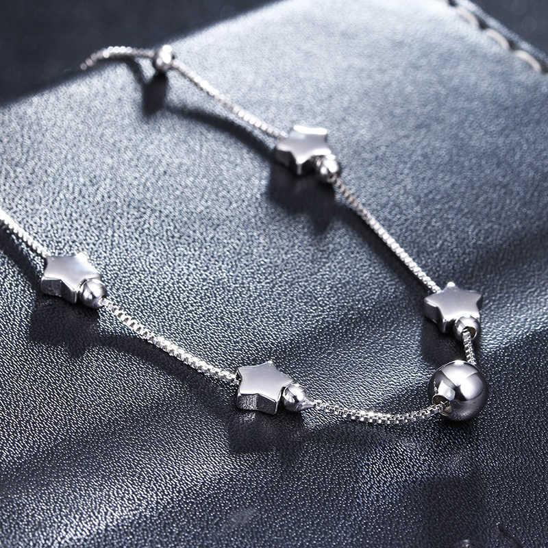 100% 925スターリングシルバーファッションリトルスターladies'anklets卸売女性ジュエリーアンクレット女性誕生日ギフト安い