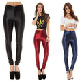 Envío Gratis disco pantalones empalmar-elevación de la alta cintura de la vendimia de metal brillante leggings