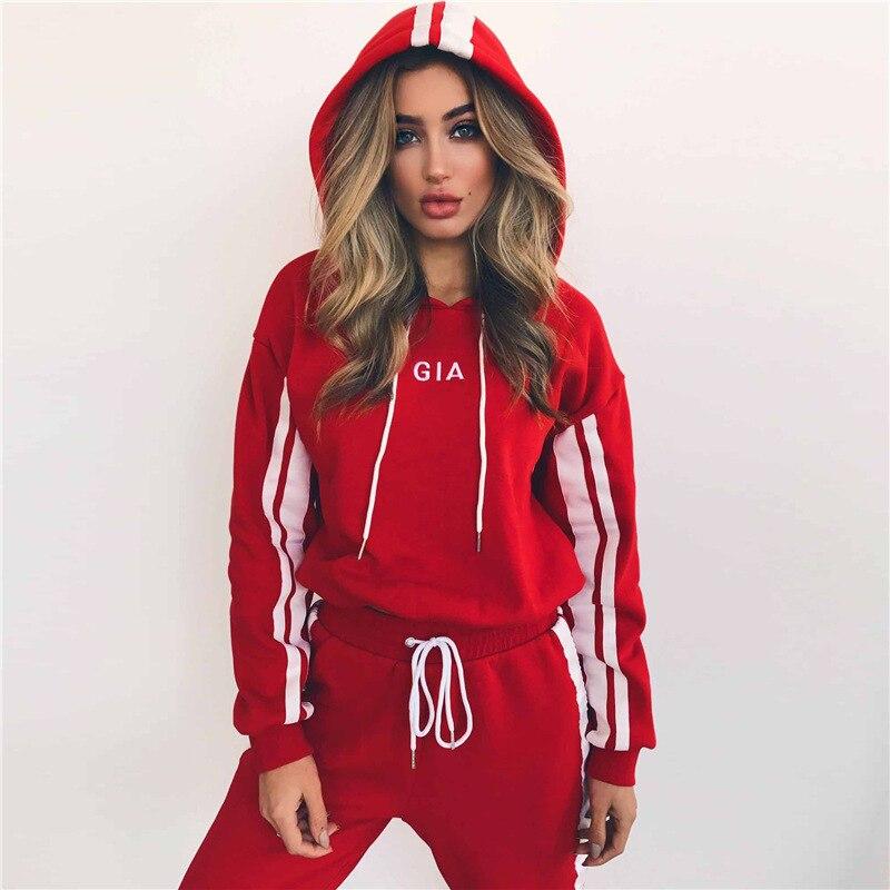 Autumn Red 2 Piece Set Women Side Stripe Tracksuit Sportswear Casual White Sweat Harem Pants Hooded Cropped Sweatshirt Hoodie