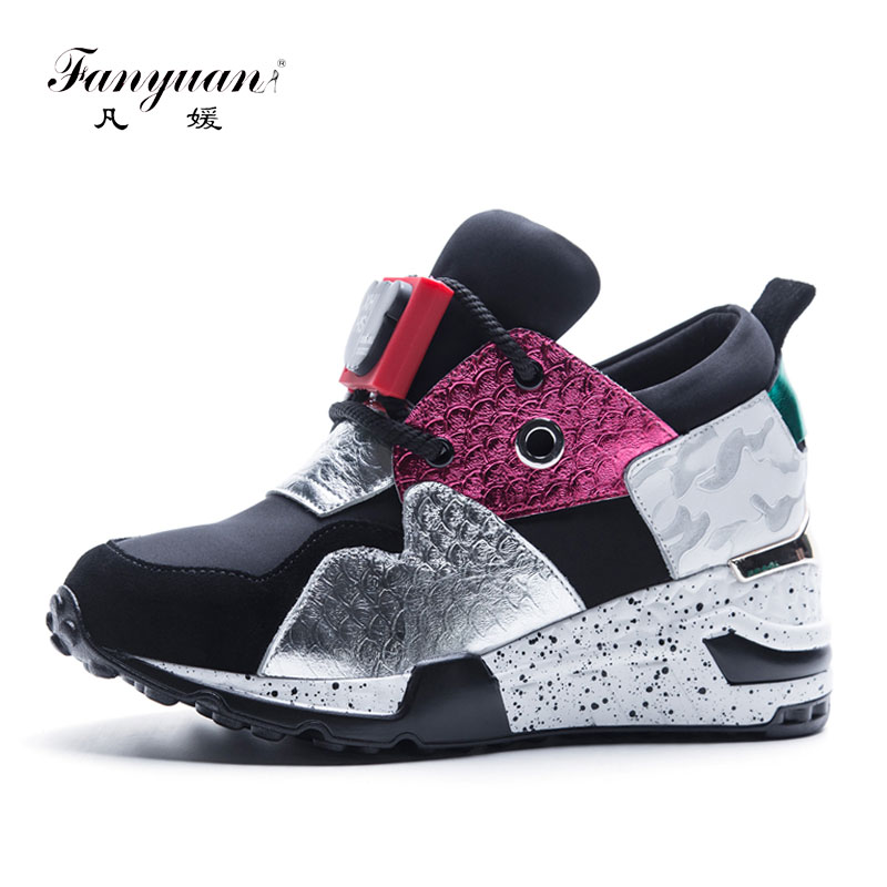 Fanyuan   Leather   Shoes Women Sneaker Mixed Color Cow   Suede   Causal Shoes Women Autumn Lace Up Lady Flat Shoes flat shoes